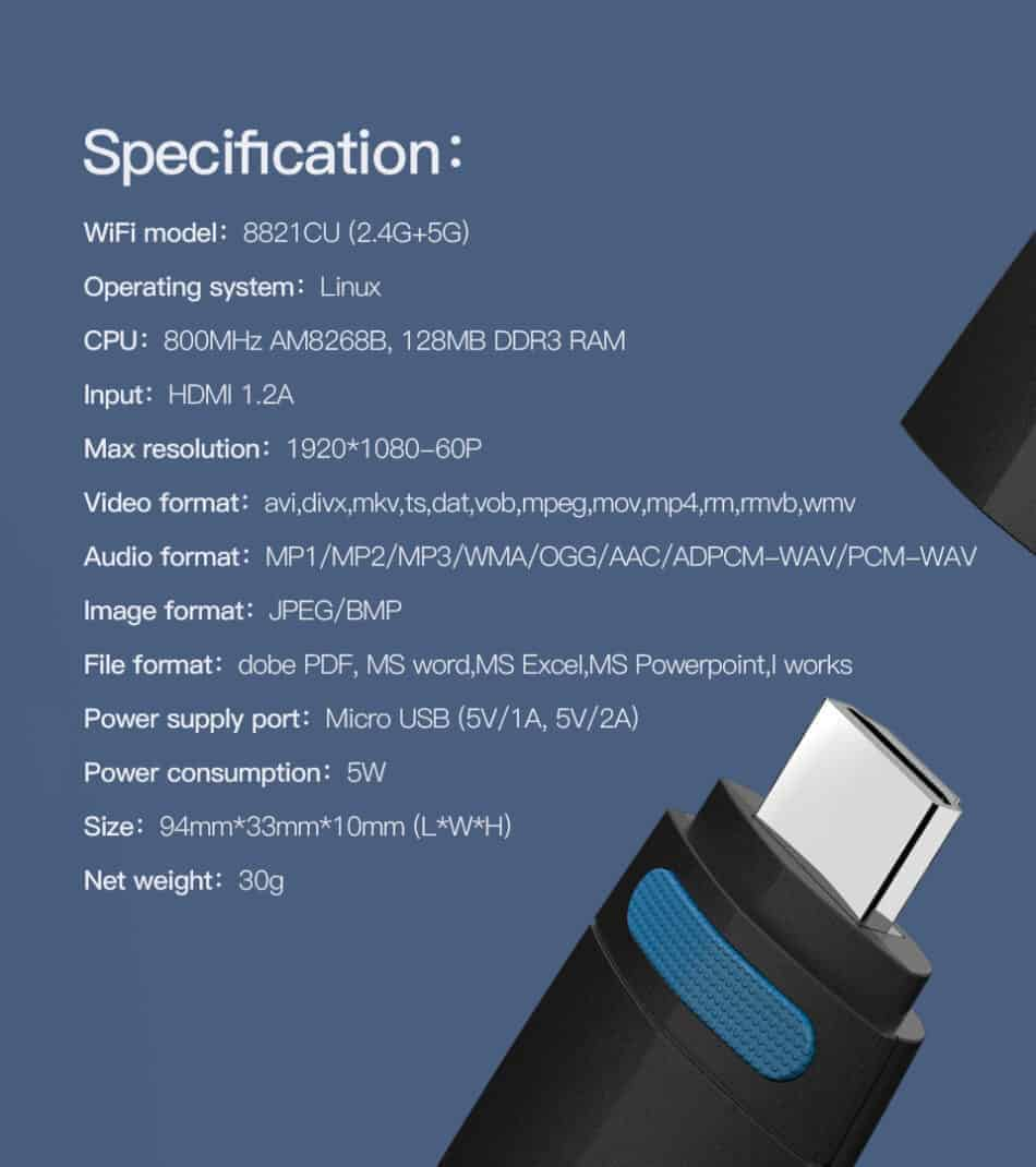 Dongle WiFi Wireless HDMI TO TV WiFi 5G-2.4G for YouTube GGMM Specification