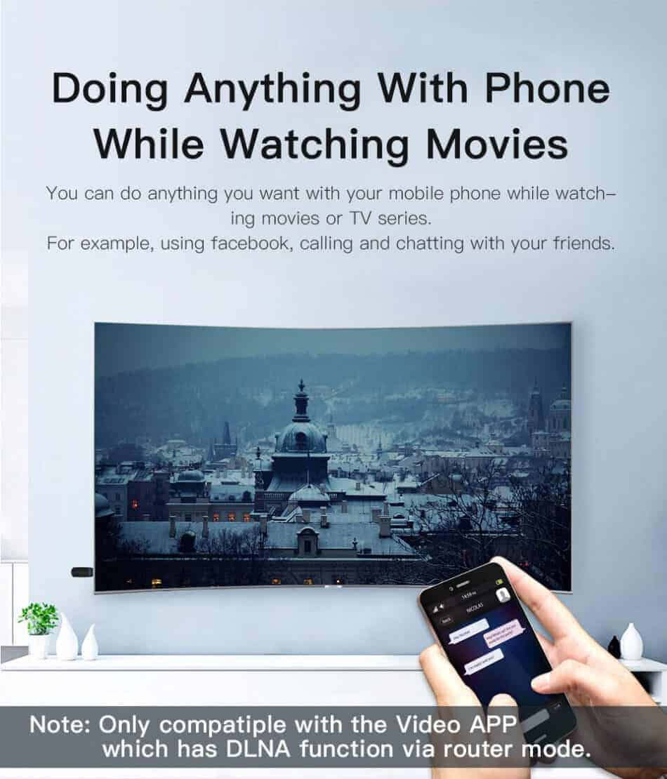Dongle WiFi Wireless HDMI TO TV WiFi 5G-2.4G for YouTube GGMM doing anything with phonewhile watching movies