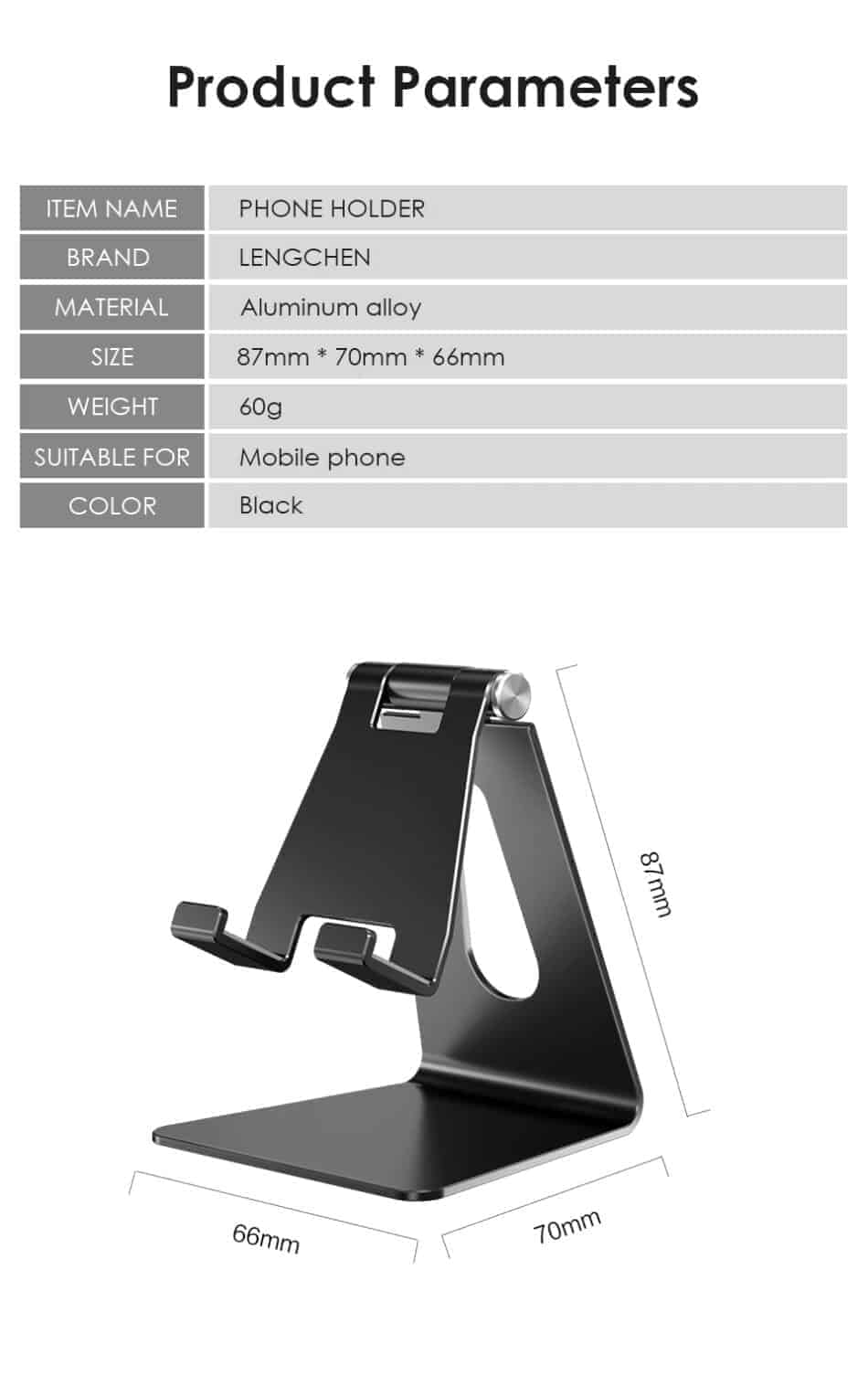 Foldable Aluminum stand for smart phone lzj01 Product parameter