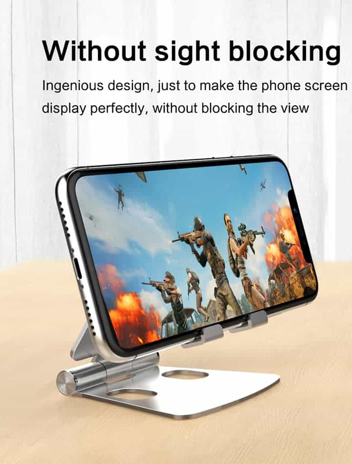 Foldable Aluminum stand for smart phone lzj01 without sight blockong