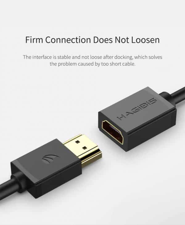 Hagibis HDMI Extension Cable 4K 3D HDMI2.0 male to female extender firm connection does not Loosen