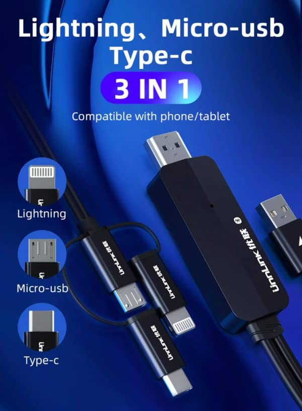 Phone To HDMI Cable Unnlink 3 in 1 For Lightning micro usb Type C- Compatible with Phone and tablet