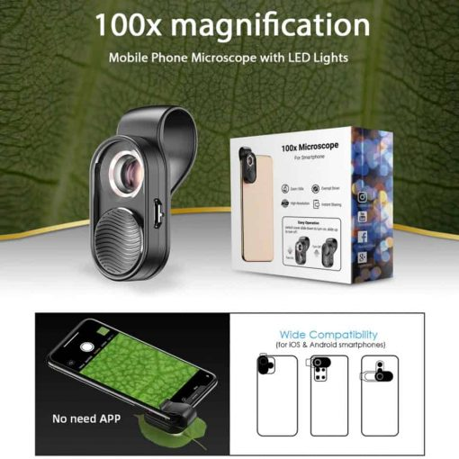 APEXEL100X magnification microscope lens mobile LED Light_magnification microscope