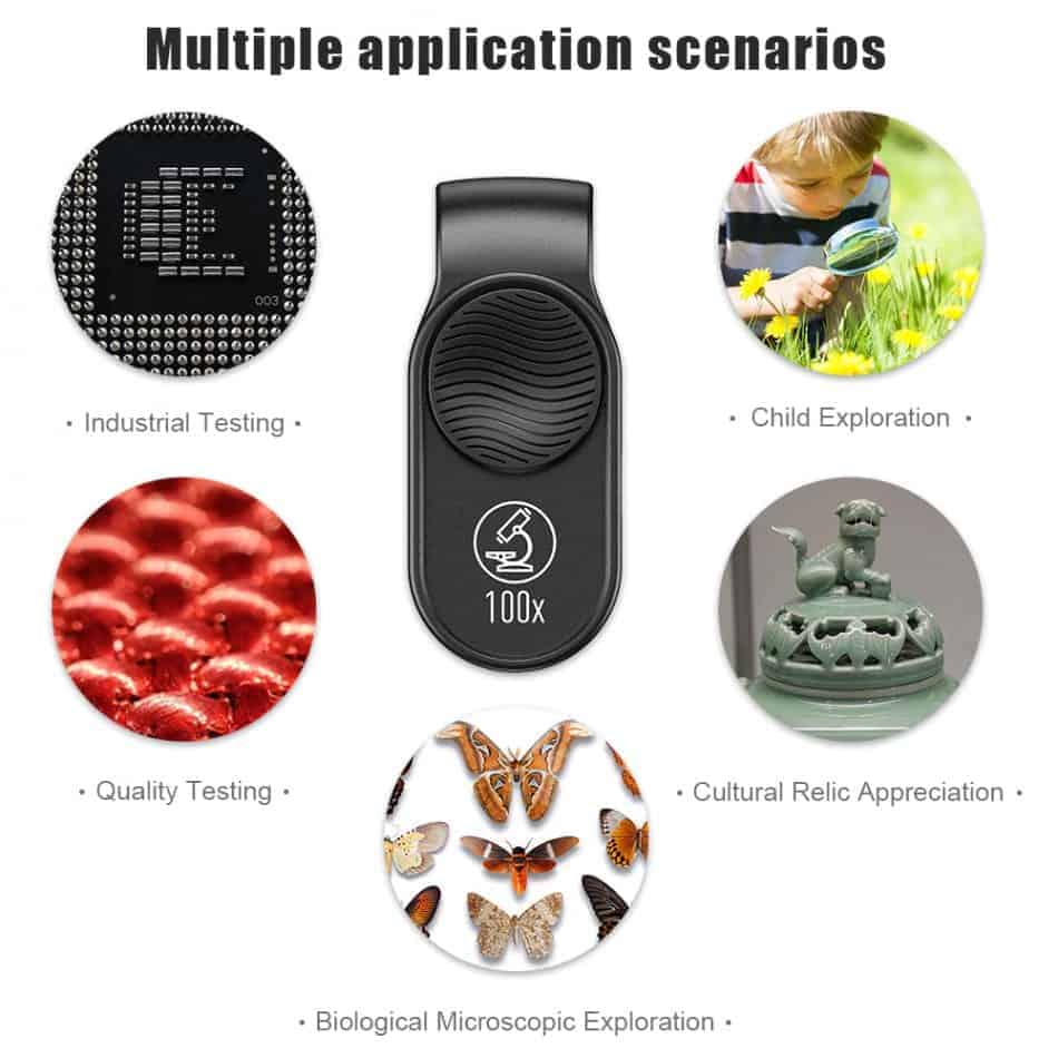 APEXEL100X magnification microscope lens mobile LED Light_multipke application scenarios 2