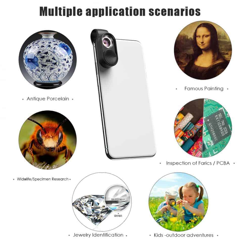 APEXEL100X magnification microscope lens mobile LED Light_multipke application scenarios