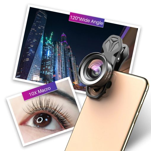 APEXEL HD Camera Phone Lens kit 120 degree 4K Wide angle 10x macro lens 01