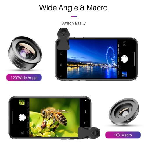 APEXEL HD Camera Phone Lens kit 120 degree 4K Wide angle 10x macro lens 02