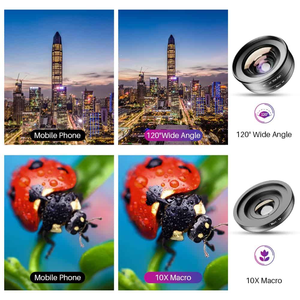APEXEL HD Camera Phone Lens kit 120 degree 4K Wide angle 10x macro lens 03