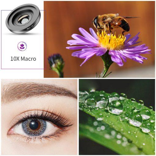 APEXEL HD Camera Phone Lens kit 120 degree 4K Wide angle 10x macro lens 05