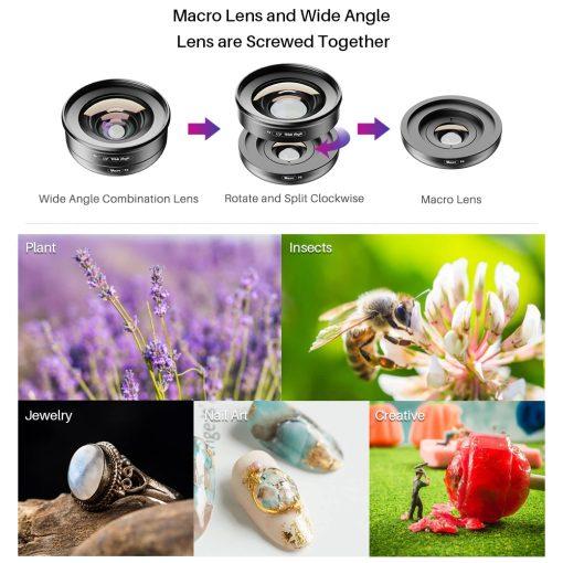 APEXEL HD Camera Phone Lens kit 120 degree 4K Wide angle 10x macro lens 06