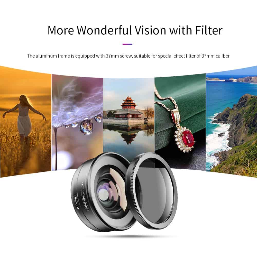 APEXEL HD Camera Phone Lens kit 120 degree 4K Wide angle 10x macro lens 07