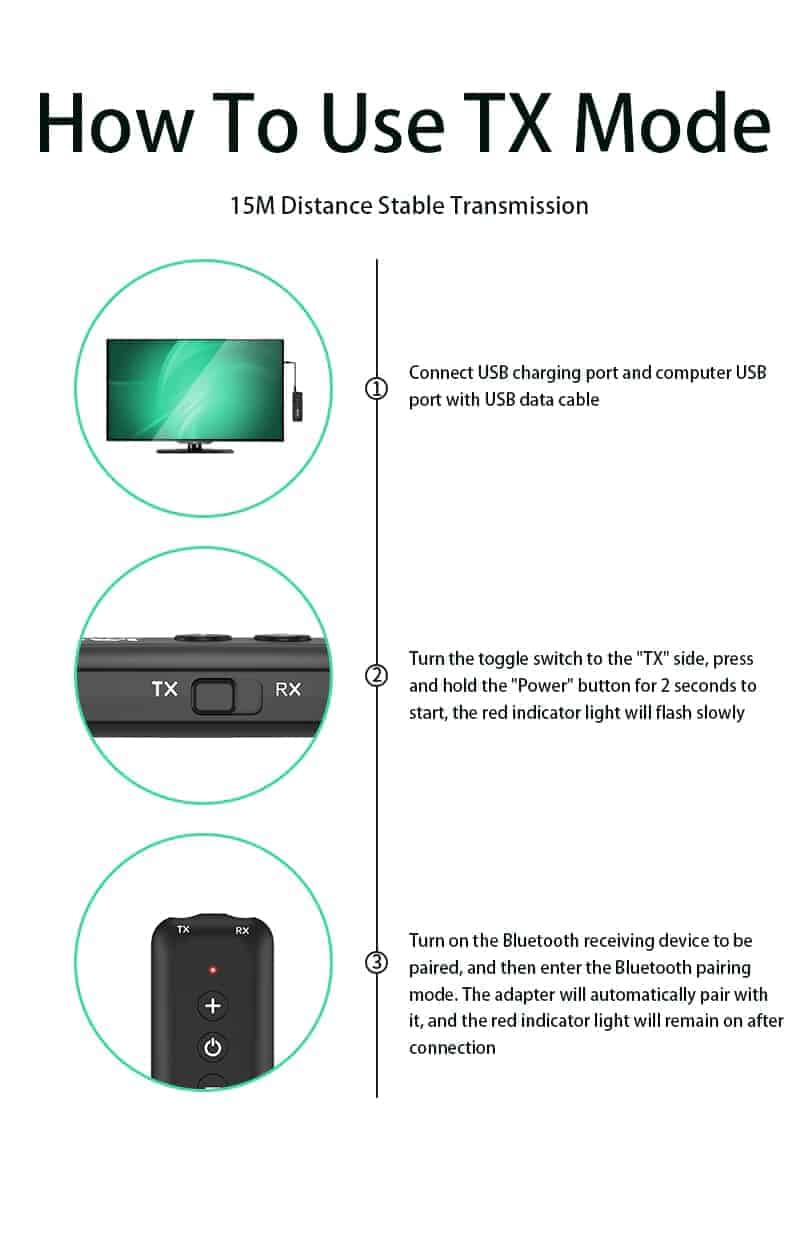 Bluetooth 5.0 Audio Transmitter Receiver - ZF-360B 4 in 1- discription-13