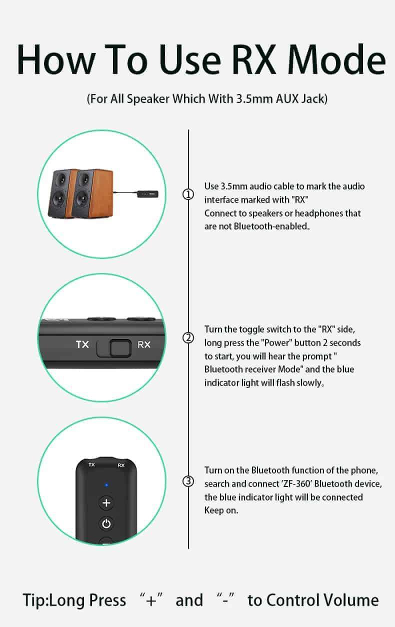Bluetooth 5.0 Audio Transmitter Receiver - ZF-360B 4 in 1- discription-14